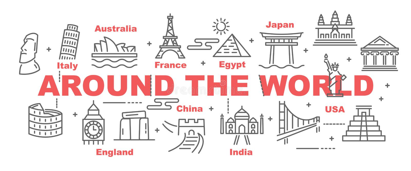 Around the world vector banner vector illustration