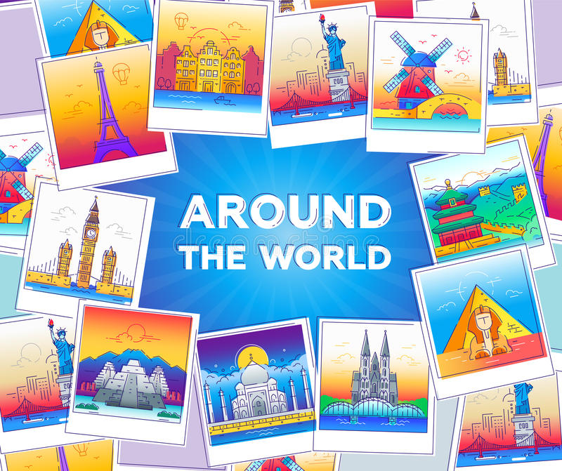 Around the world - vector line travel illustration. Explore the world - modern vector line travel illustration of postcard with a frame of photos with world stock illustration