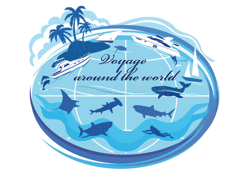 Around the world voyage. Silhouettes of yachts, cruise liner, sailing boat, island with palm trees, sea turtles, dolphins, whale, sharks, manta ray, fish royalty free illustration