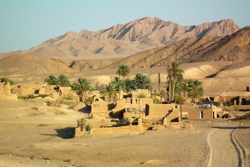 Arousan绿洲在伊朗沙漠 免版税库存照片