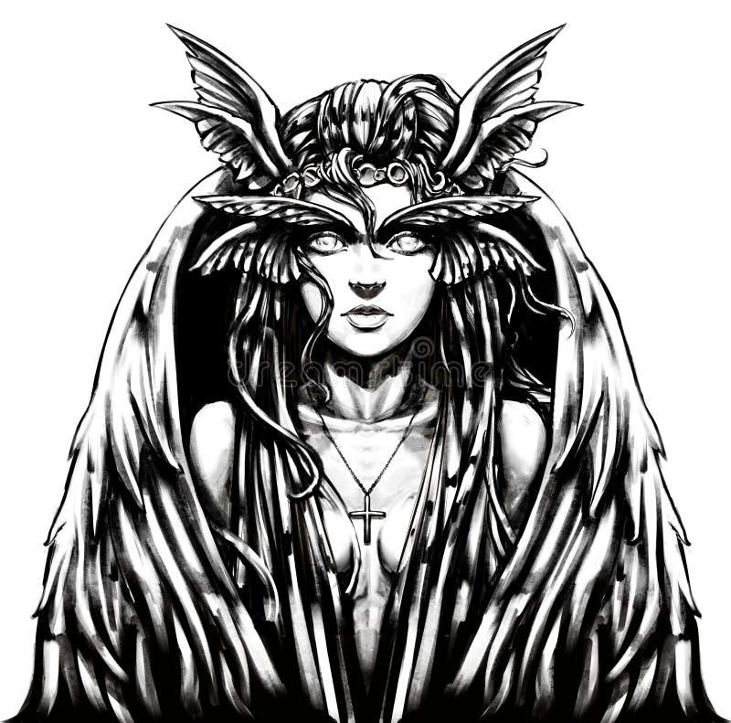 Arpía de la muchacha con un aspecto hermoso con libre illustration