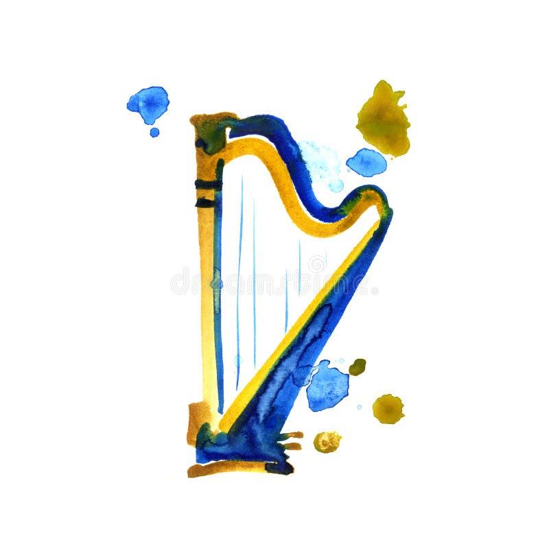 Arpa aislada de la acuarela en blanco Instrumento clásico hermoso stock de ilustración