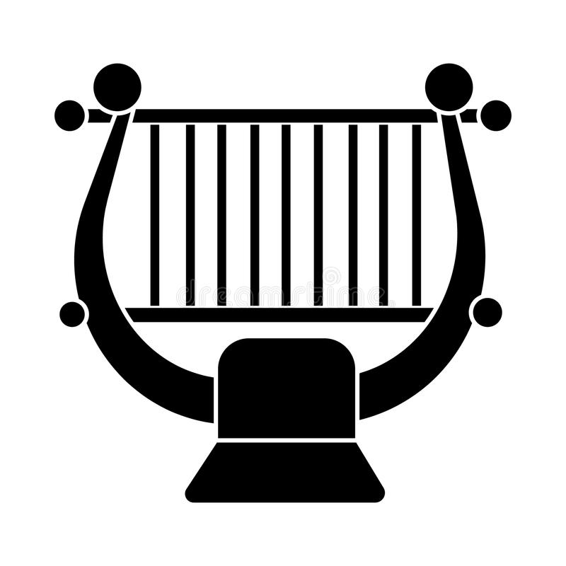 Arpa - icono clásico de la música de la secuencia, ejemplo del vector, muestra negra en fondo aislado stock de ilustración