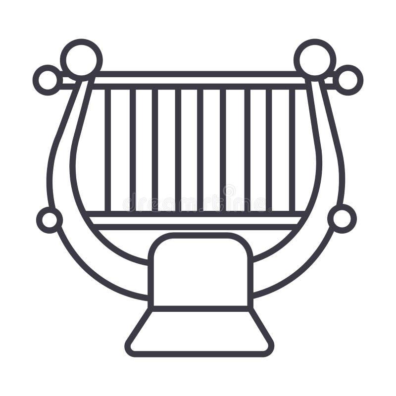 Arpa, secuencia, línea icono, muestra, ejemplo del vector de la música clásica en el fondo, movimientos editable ilustración del vector