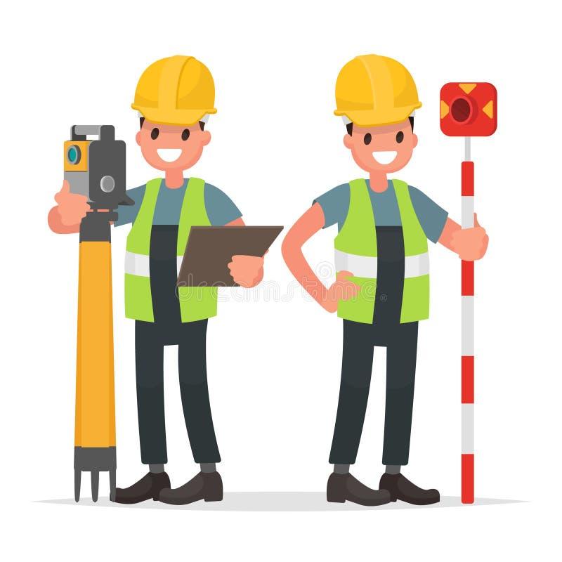 Arpenteur et son assistant à travailler avec l'équipement illustration de vecteur