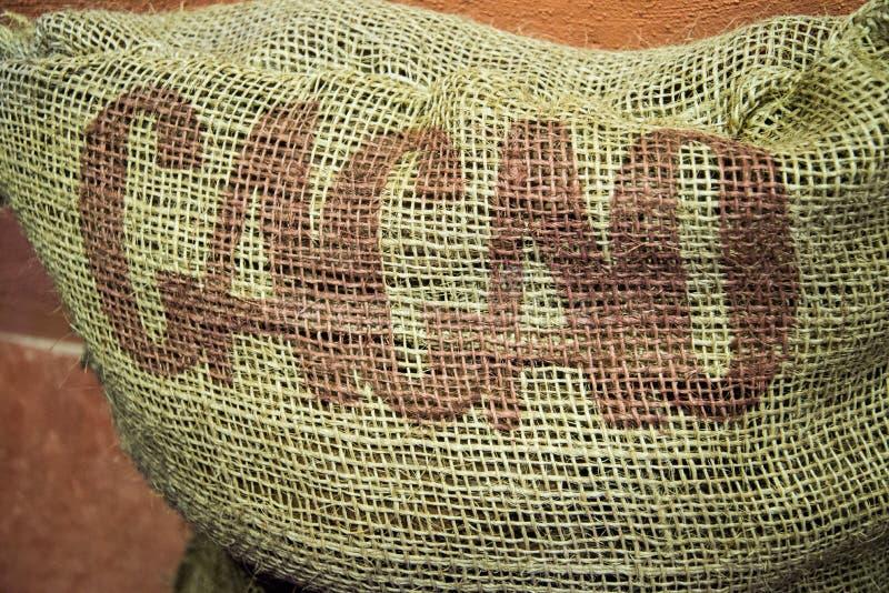 Arpillera del cacao foto de archivo libre de regalías