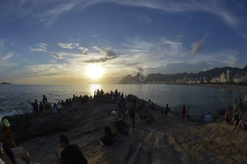 Arpoador Sunset. Sunset at Arpoador Rock in Ipanema, Rio de Janeiro royalty free stock images