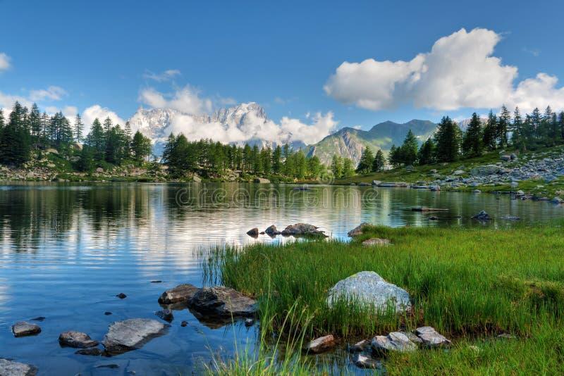 Arpy lake, Aosta Valley stock photography