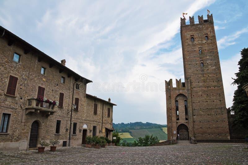 arquato castell一点红・意大利romagna视图 库存图片