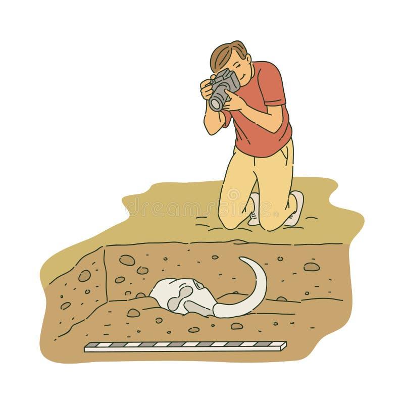 Arqueólogo de sexo masculino que se arrodilla y que toma la foto del estilo antiguo del bosquejo de los huesos ilustración del vector