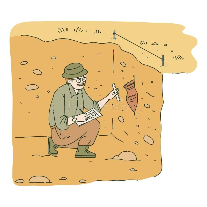 Arqueólogo de sexo masculino que se sienta en hoyo y que investiga estilo antiguo del bosquejo de la ánfora libre illustration