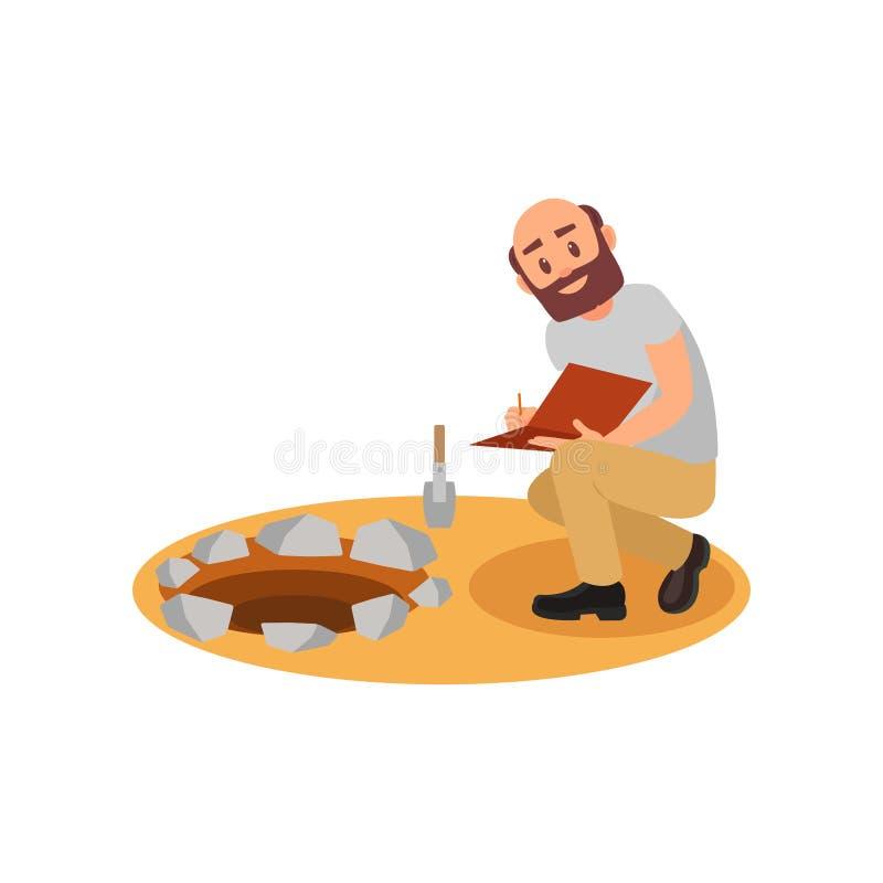 Arqueólogo que senta-se perto do poço e que faz anotações no dobrador Homem calvo com barba Escavações Archaeological liso ilustração stock