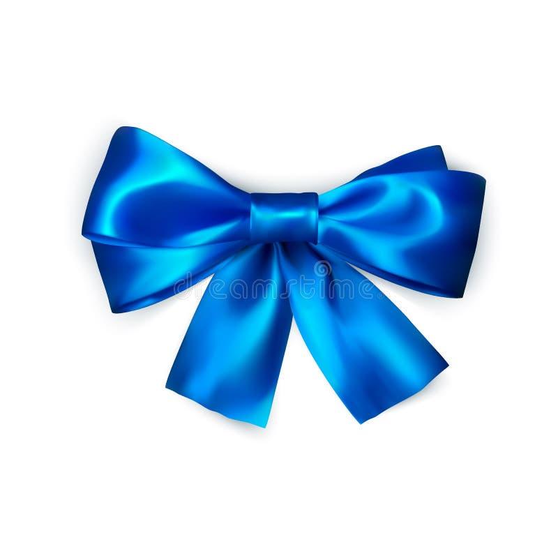 arqueamiento azul aislado en el fondo blanco Arco de seda realista Decoración para los regalos y el arco azul que embala Ilustrac ilustración del vector