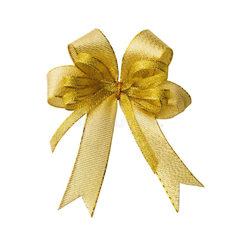 Arqueamiento de la cinta del oro para el rectángulo de regalo imagenes de archivo
