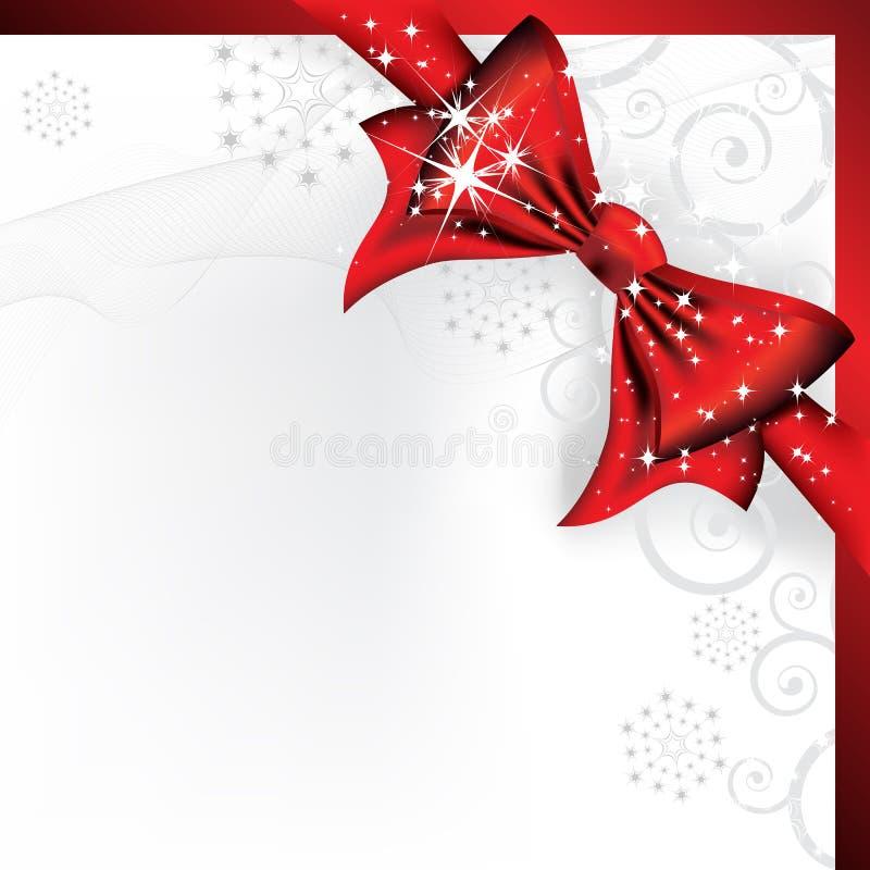 Arqueamiento rojo grande en una carta mágica de la Navidad stock de ilustración