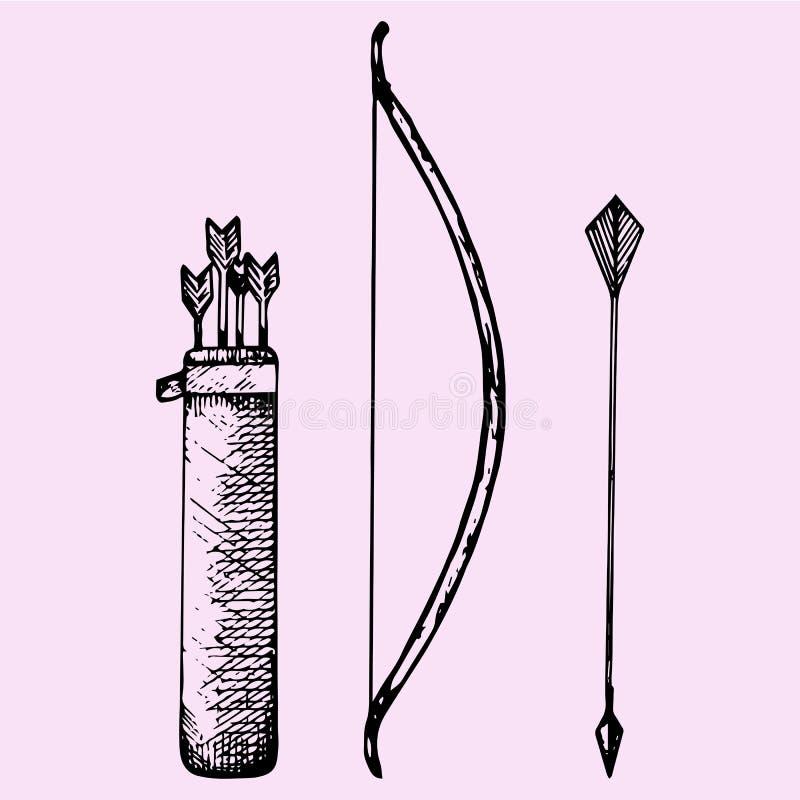 Arqueamiento y flecha stock de ilustración