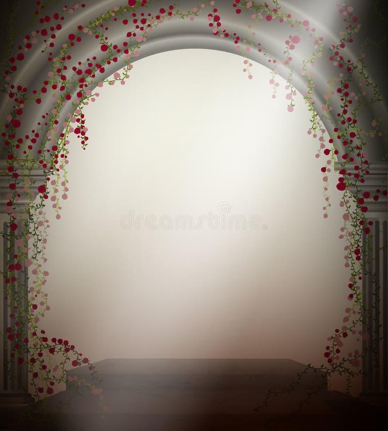 Arqueie com as duas colunas de mármore e com a rosa de ondulação do vermelho, lugar romântico no jardim antigo, decoração do teat ilustração stock