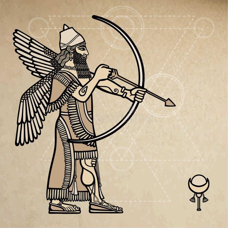 Arqueiro Assyrian ilustração royalty free