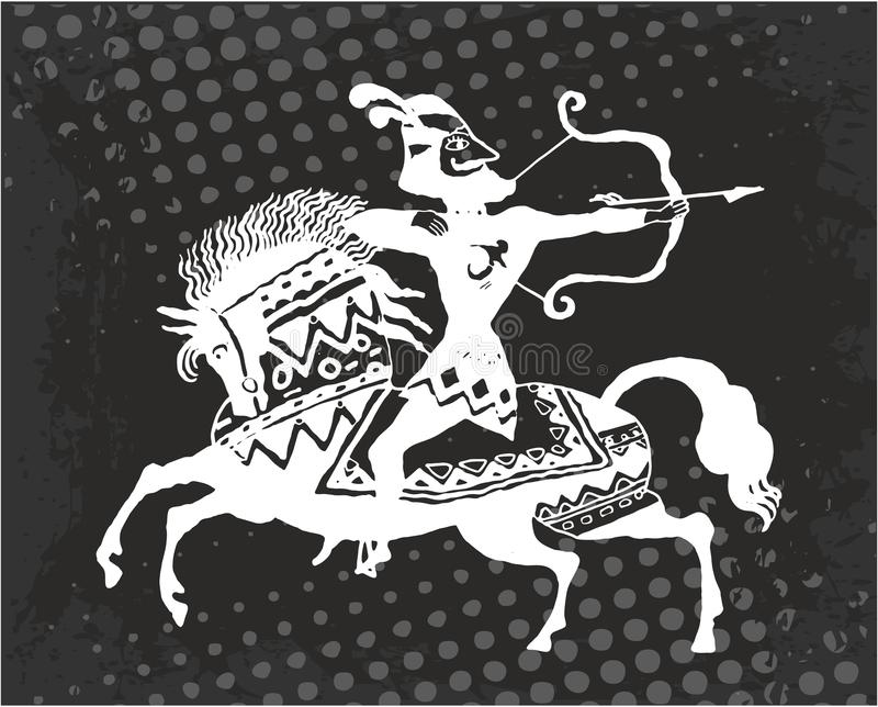 Arqueiro do guerreiro a cavalo ilustração stock