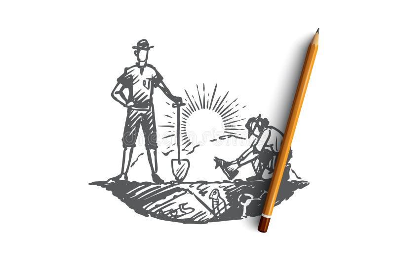 Arqueología, antigua, suerte, artefactos, concepto fósil Vector aislado dibujado mano libre illustration