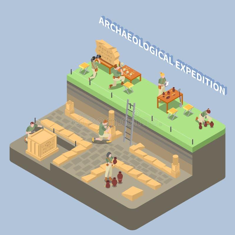 Arqueologia Compositon isométrico ilustração stock