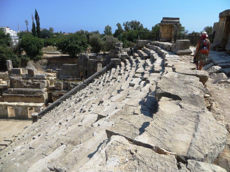 Arqueologia da história de Sparta Grécia antigo das escadas do anfiteatro imagens de stock royalty free