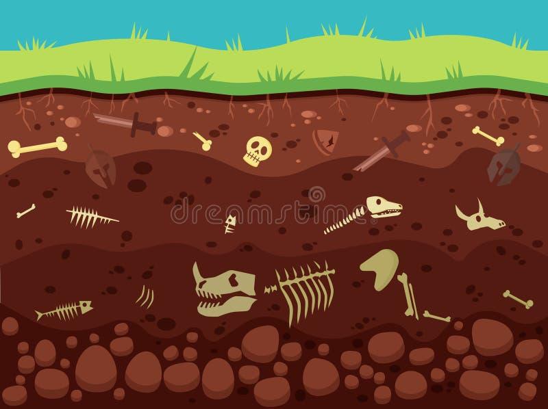 Arqueologia, produtos manufaturados históricos sob a ilustração à terra do vetor ilustração do vetor