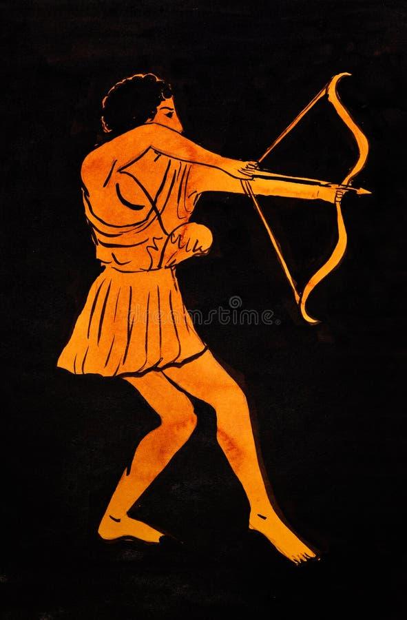 Arquero del griego clásico ilustración del vector