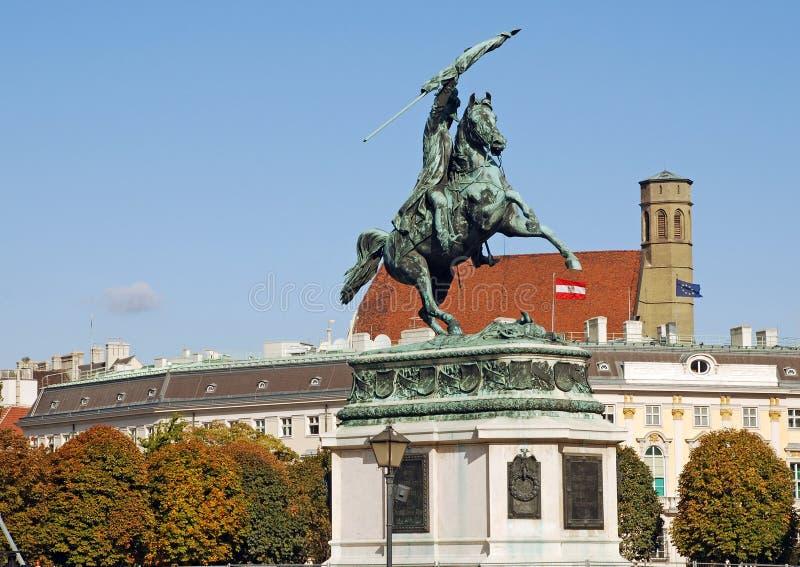 Arquiduque Charles da estátua de Áustria (Viena, Áustria) fotografia de stock royalty free