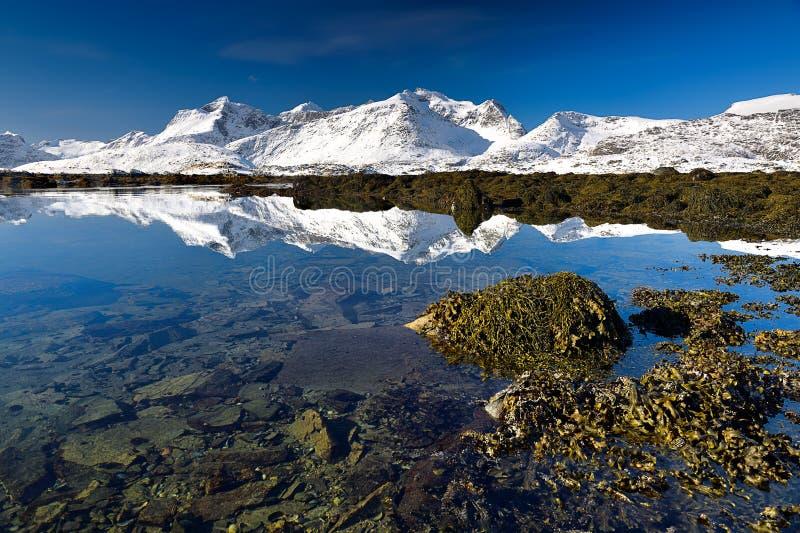Arquipélago de Lofoten em Noruega no tempo de inverno imagens de stock