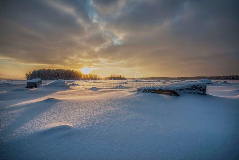 Arquipélago de Rahja no inverno fotografia de stock
