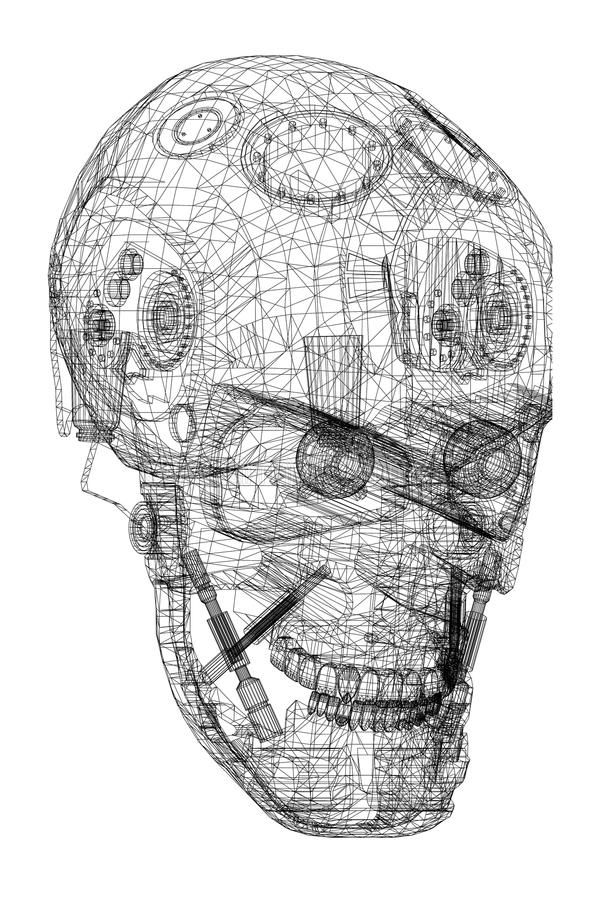Arquitecto Blueprint del diseño de la cabeza del robot - aislado stock de ilustración