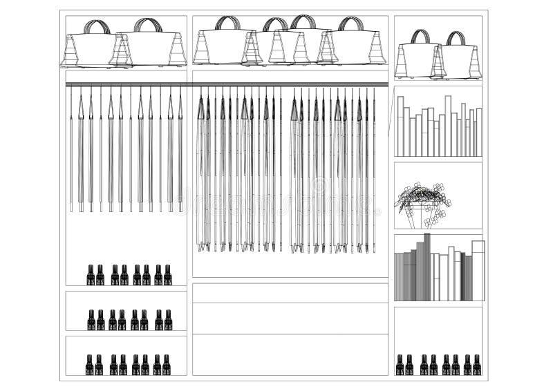 Arquitecto Blueprint del diseño del organizador del armario - aislado ilustración del vector