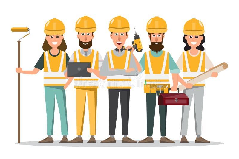Arquitecto, capataz, dirigiendo al trabajador de construcci?n en diverso characte libre illustration