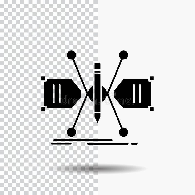 Arquitecto, construyendo, rejilla, bosquejo, icono del Glyph de la estructura en fondo transparente Icono negro libre illustration