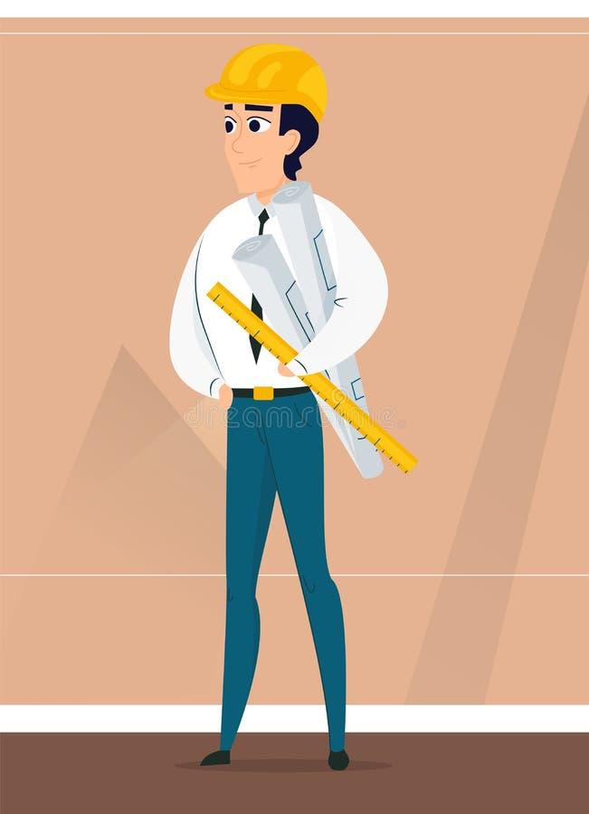 Arquitecto de sexo masculino con proyecto de diseño a disposición stock de ilustración