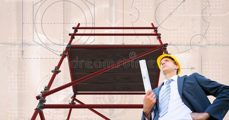 Arquitecto debajo del andamio 3D con el fondo de los ladrillos stock de ilustración