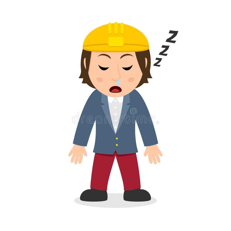 Arquitecto durmiente Character de la mujer ilustración del vector