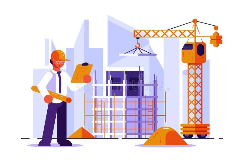 Arquitecto e ingeniero de construcción stock de ilustración