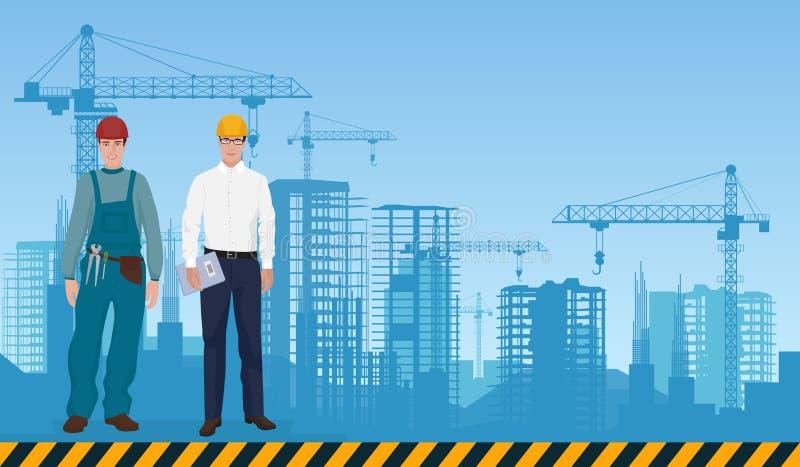 Arquitecto y trabajador del encargado del hombre del constructor en el fondo de los edificios de las construcciones Concepto de l libre illustration