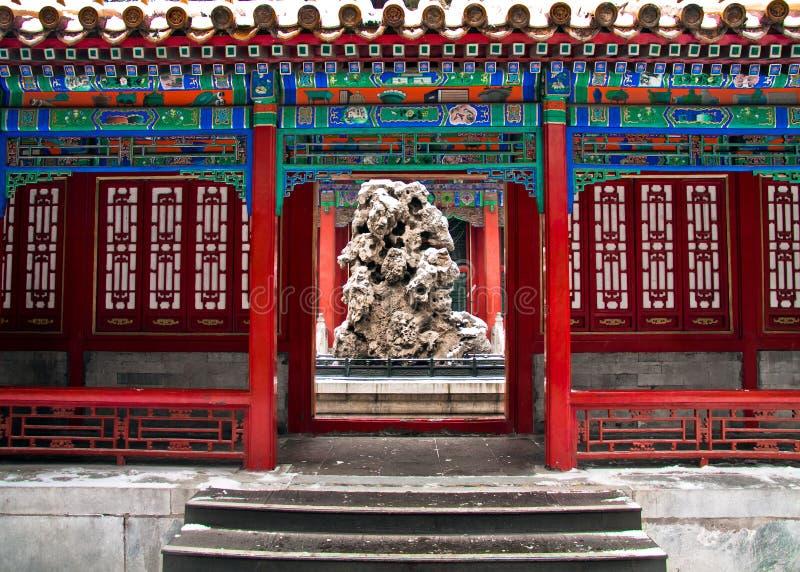 Arquitectura antigua china, pabellón de la ciudad Prohibida Gugong, invierno y nieve imagen de archivo