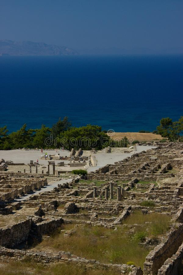 Arquitectura antigua de Kamiros Rhodos Grecia histórica fotos de archivo