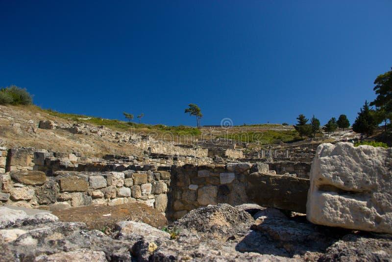 Arquitectura antigua de Kamiros Rhodos Grecia histórica fotografía de archivo libre de regalías