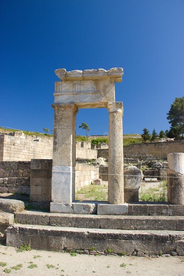 Arquitectura antigua de Kamiros Rhodos Grecia histórica foto de archivo libre de regalías