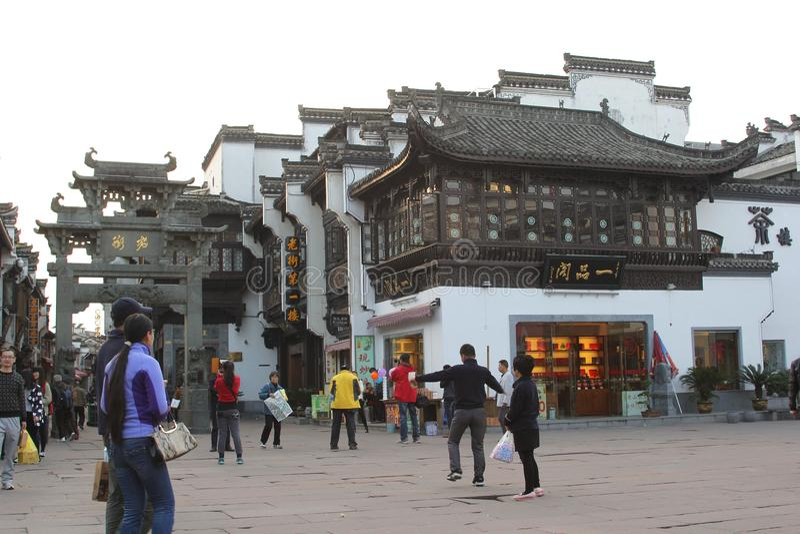 Arquitectura antigua en la calle vieja, Tunxi, China imagen de archivo