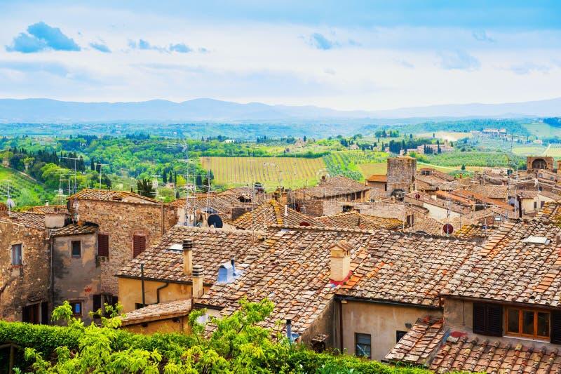 Arquitectura antigua en San Gimignano, Italia imagenes de archivo