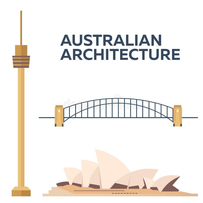 Arquitectura australiana Diseño plano moderno Ilustración del vector ilustración del vector