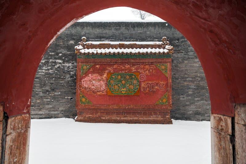Arquitectura china antigua en invierno imagenes de archivo