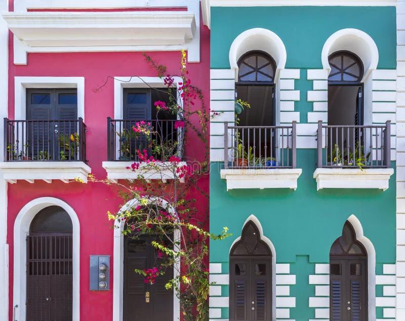Arquitectura colonial de San Juan viejo en Puerto Rico foto de archivo