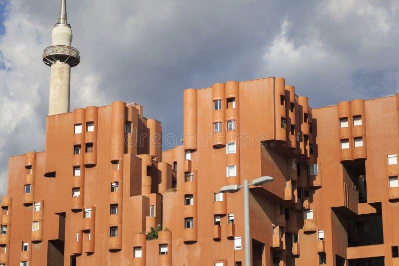 Arquitectura contemporánea, edificio de Walden 7 de Ricard Bofill, Sa fotos de archivo
